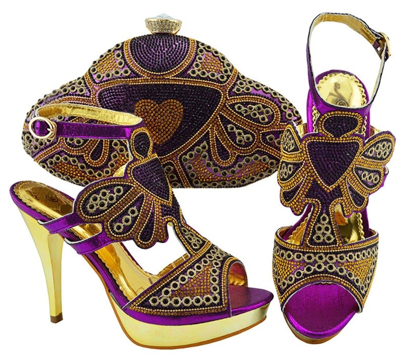 حذاء نسائي بكعب عالٍ مرصع بالكريستال وحجر الراين ، حذاء أفريقي رائع ، حقيبة يد مطابقة ، JZC004 ، كعب 11.5 سنتيمتر