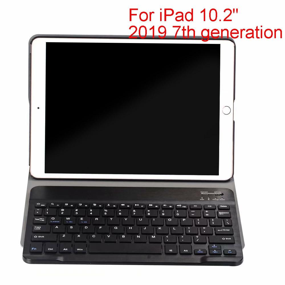 Besegad moda destacável couro do plutônio teclado sem fio bluetooth caso capa para apple ipad 10.2 2019 7th gen tablet acessórios
