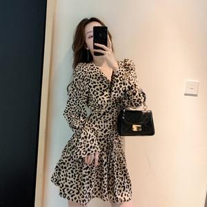 2021 Summer Leopard Print Casual Fashion Dress Female V-neck Ruffled Long-sleeved Short Skirt A-line Mini Party Dress