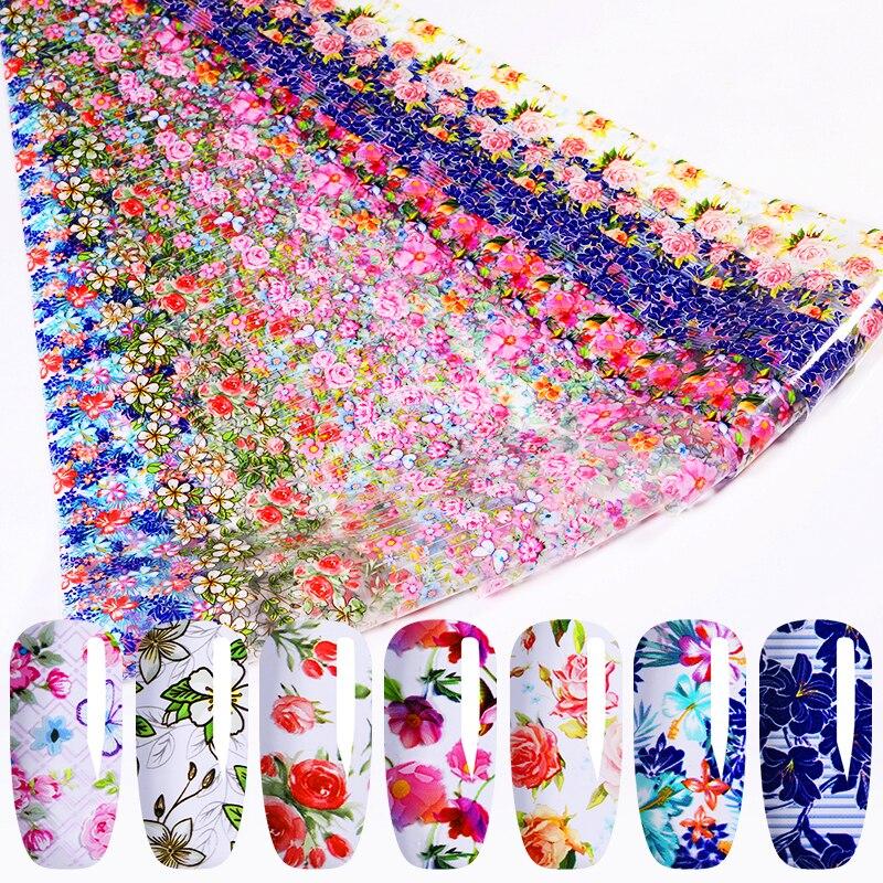 10 rolls/kit unhas folhas belas flores série adesivos de transferência de unhas padrões misturados decoração da arte do prego dicas diy decalques