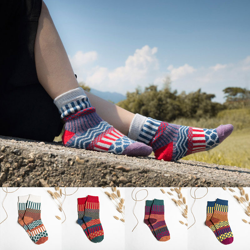 2021 Winter Cashmere Socks Women Lounge Striped Mid-tube Socks Warm Floor Socks Cozy Fluffy Sleep So