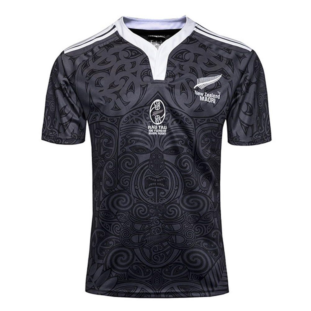 S-3XL New Zealand 100 Anniversary Commemorative Rugby Sports T-shirt High-density Printing On Ribbed Collar With Elastic Cuffs