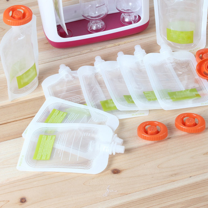 10pc Children Food Pouches Non-Reusable Squeeze Bag Homemade Organic Puree Refillable Juice Yogurt Storage Bags For Adult Baby