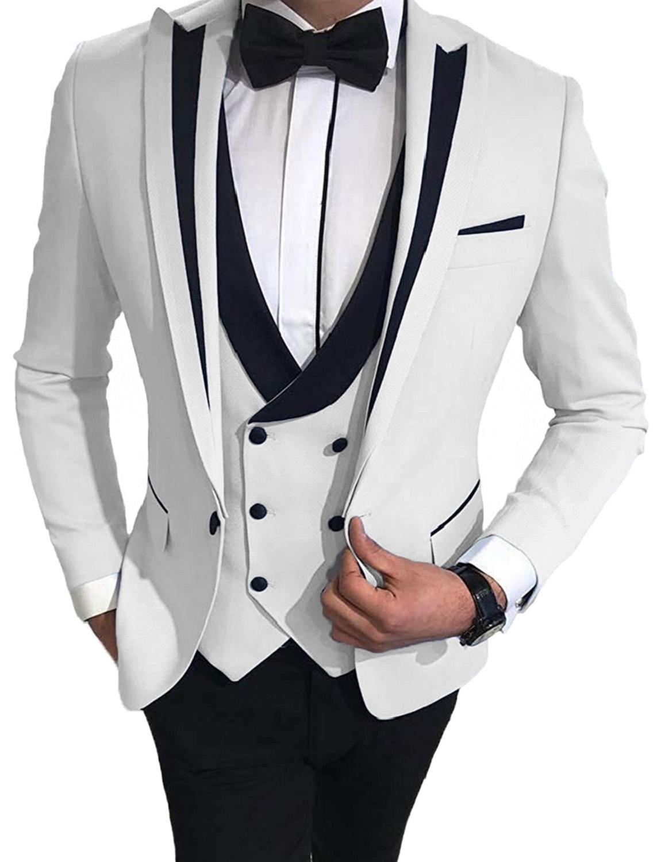 Trajes de hombre 2020 color blanco/marfil con pantalones negros traje de hombre 3 piezas (chaqueta + + Pantalones chaleco) ropa solapado trajes de matrimonio para hombres