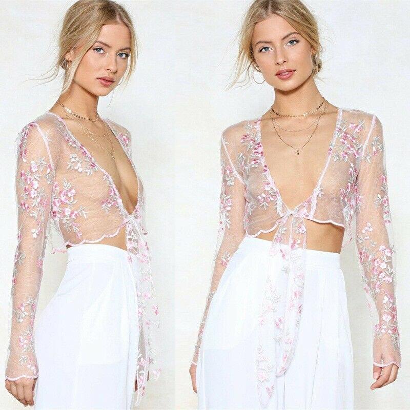 Womens floral malha sheer bordado floral transparente colheita topos t camisa blusa biquíni cobrir camisola