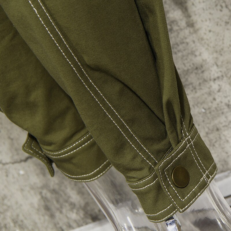 SeeBeautiful Large Size Jumpsuits Simple Stand Collar Lantern Sleeve Zipper Button Belt Woman Autumn 2021 New Tide Fashion T483 enlarge