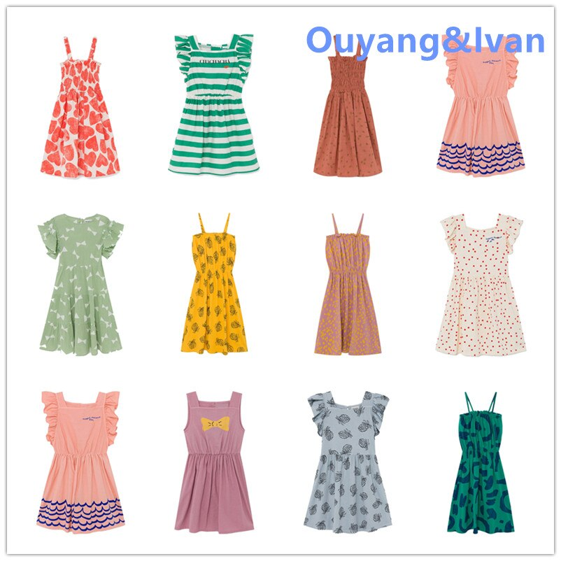 En STOCK 2020 primavera/verano BC vestido euroamericano chica raya Color sólido volante manga pequeña vestido niño niña vestidos
