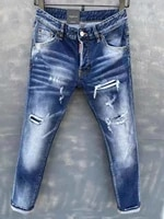 2021 new dsquared2 menswomens jeans fashion slim fit washed hole patches elastic simple all match pants dsq2 9139
