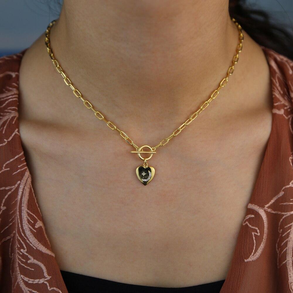 Corazón signet encanto Cadena de eslabón abierto clip de papel cadena mujeres moda collar oro joyería de moda