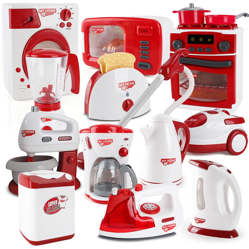 Kids Kitchen Toys Pretend Play Simulation Home Appliances Toys for Girls Light-up&Sound Coffee Machi