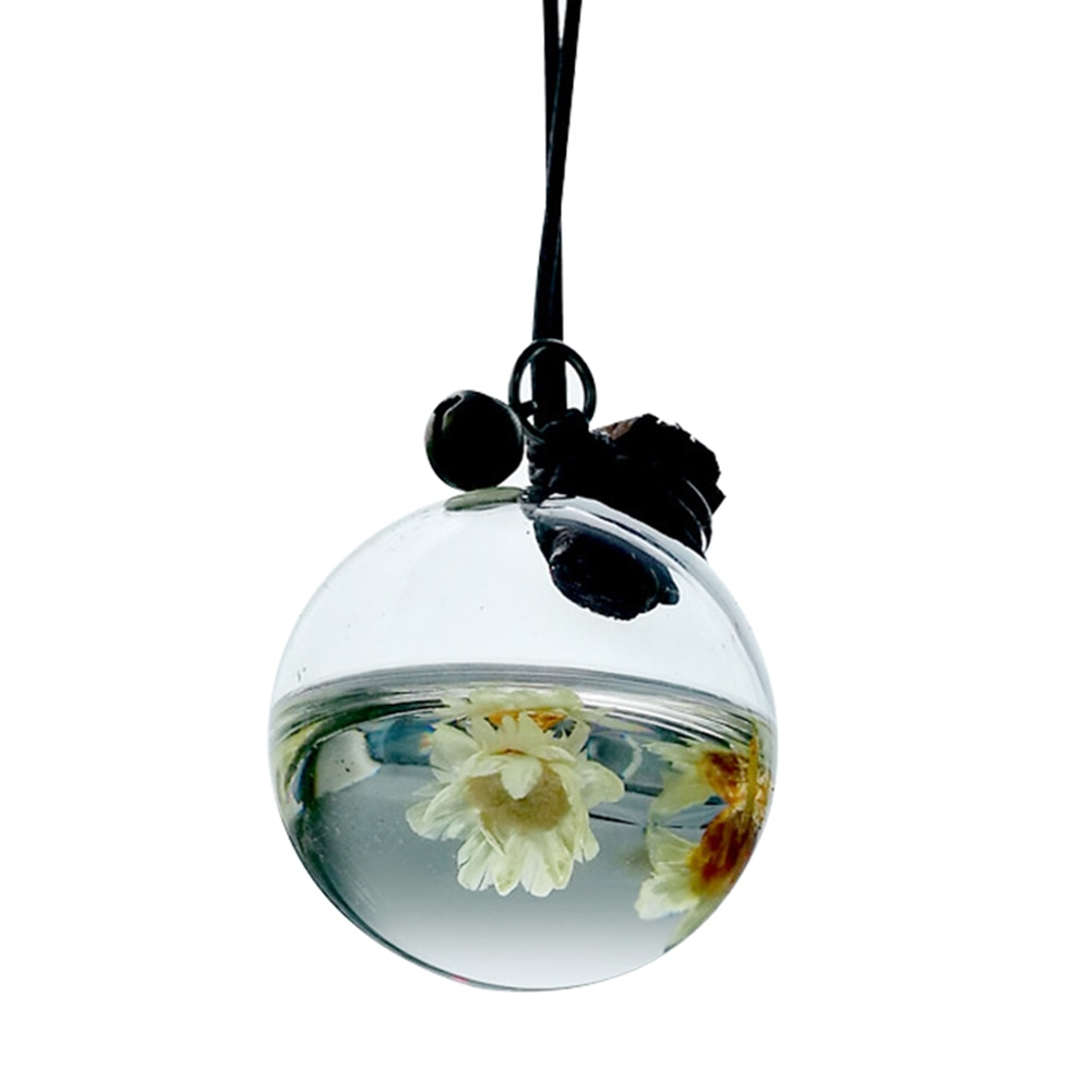 Car Perfume Bottle Empty Hanging Bottle for Essential Oils Perfume Pendant Auto Ornament with Flower Air Freshener