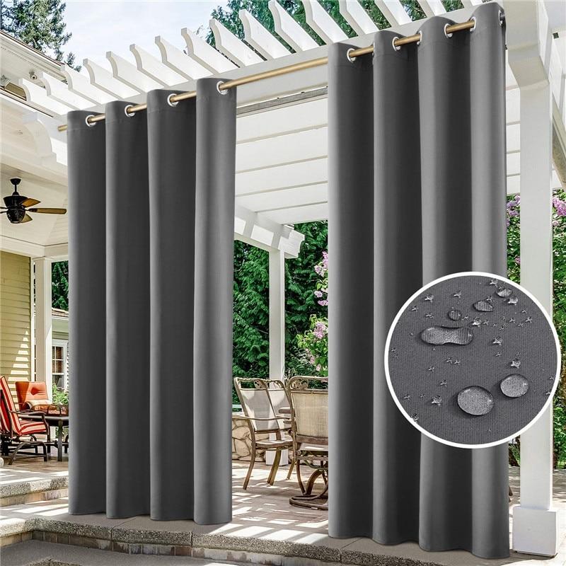 ستائر خارجية للفناء قابلة للفصل أقمشة مضادة للماء يندبروف جروميت Fadeproof نافذة الستائر لعريشة حديقة أربور