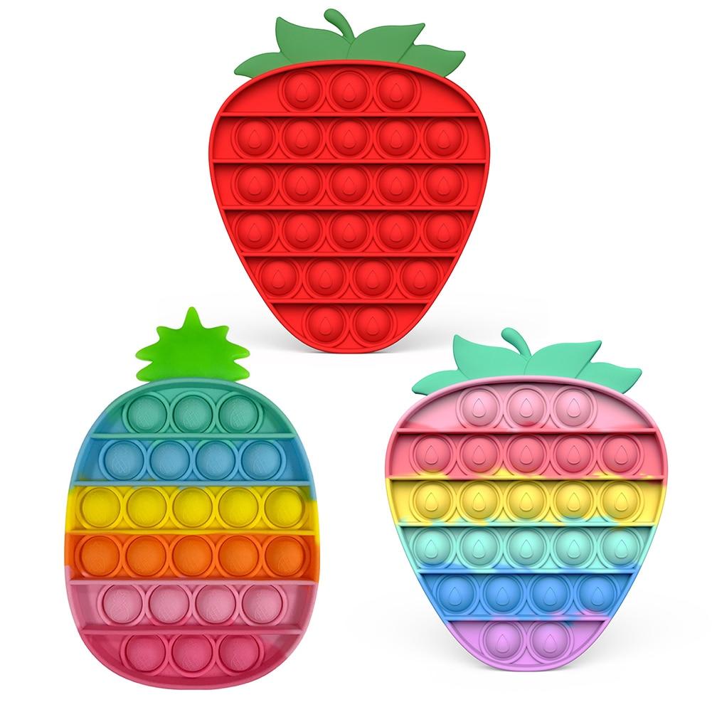 Push System Its Bubble Hot Cartoon Fruit Fidget Toys Autism Special Needs Sensory Anti-stress Relief Toy Kids Toys