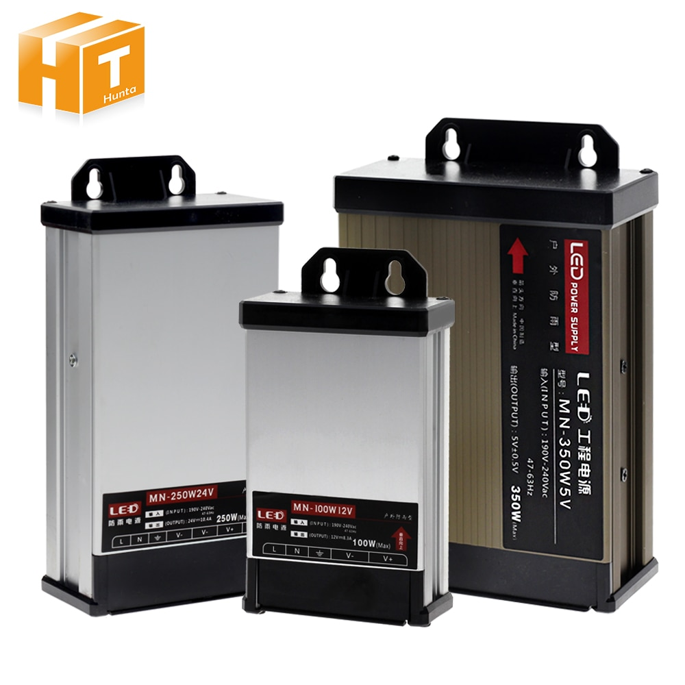 Montaje en pared de alimentación LED AC190-240V DC 5V 12V 24V 100W 200W 250W 400W LED colgante conductor iluminación transformadores
