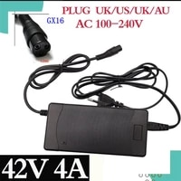42v 4a electric bike lithium battery charger for 36v electric scooter 3 prong inline connector 3p gx16 plug