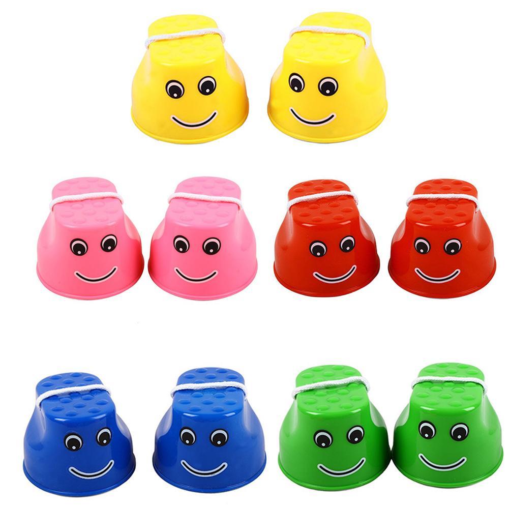 2PCS Children's Stilt Toys Kindergarten Stilts Thick Plastic Smile Training Equipment Primary School