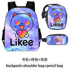 Likee backpack For Girls 3D Printed Softback Bookbag 13/16 Inch Backpack Insulated School Bag Zipper Pencil Case for Kids 3pcs