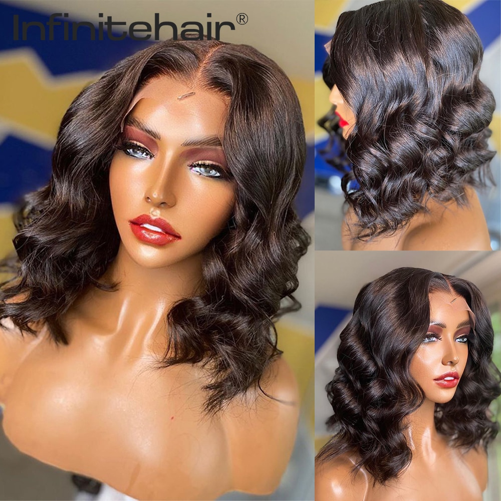 Body Wave Bob Middle Part 13*1 T Part Lace Front 150% Density Human Hair Wigs Remy Brazilian Hair Pre Plucked Lace Wig недорого