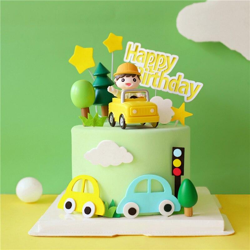 Décoration de gâteau pour garçon, suv jaune, dessin animé, avec décoration de gâteau, pour fête danniversaire pour garçon, fournitures de pâtisserie