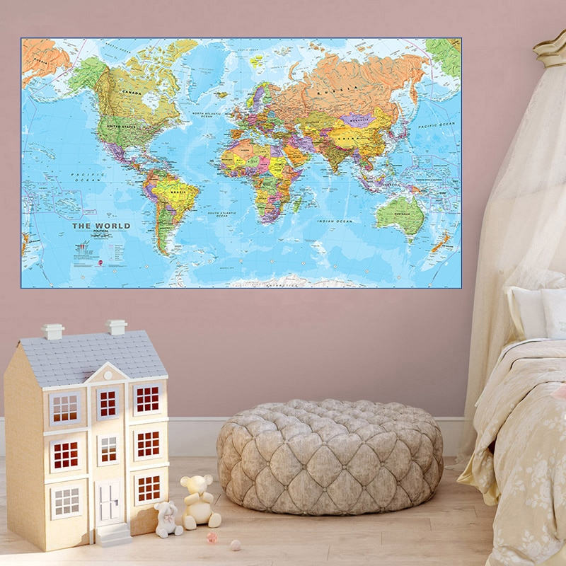 225*150cm Large Size World Map Non-woven Canvas Painting Vintage Wall Art Poster Licing Room Home Decoration School Supplies