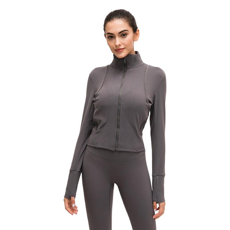 Mujer de manga larga Yoga camisa cremallera ropa deportiva de secado rápido chándal mujeres correr chaqueta Fitness abrigos ropa de abrigo