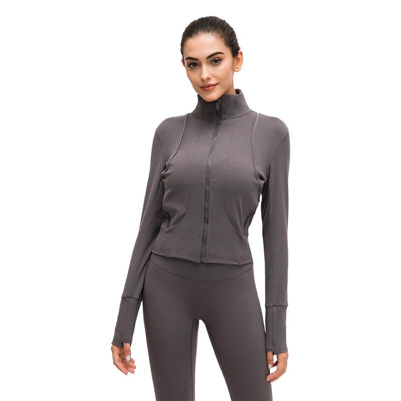 Chemise de Yoga à manches longues pour femmes vêtements de sport à fermeture éclair survêtement à séchage rapide veste de course pour femmes manteaux de Fitness vêtements dextérieur hauts