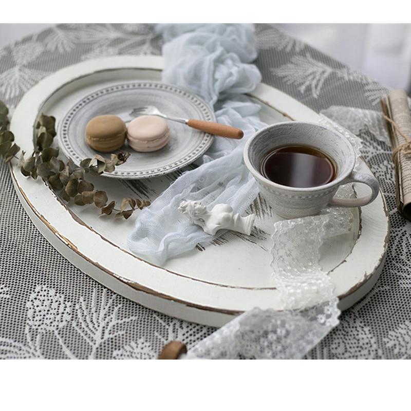 Tobs bandeja de palé de madera 46*32cm bandeja de té hecha a mano Decoración de mesa de pastel de color blanco postre soporte de maquillaje café placa