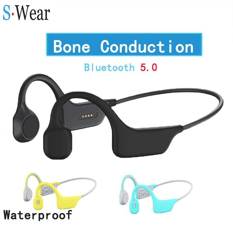 سماعات رأس بلوتوث 5.0 لاسلكية مضادة للمياه سماعات توصيل العظام سماعات رياضية خارجية مزودة بميكروفون للشحن