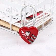 Serrure à bagages rouge en forme de Love   Mini serrure à bagages, cadenas en forme de cœur à 3 chiffres, serrure de porte, casier de porte, mignonne romantique pour femmes et filles