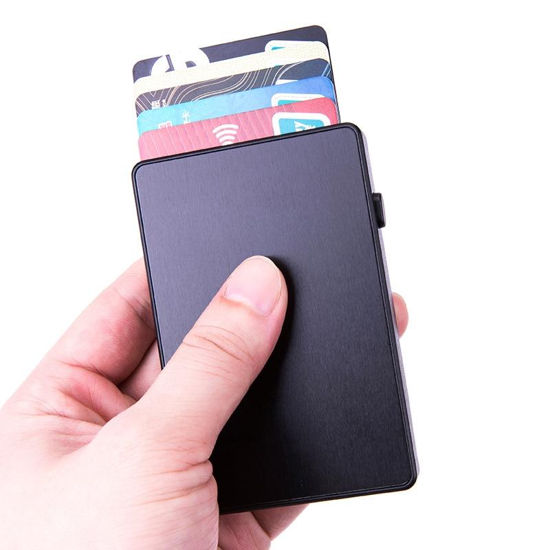 AliExpress - Bycobecy 2021 Creativity Auto Pop-up Fashion RFID Card Holder Metal Aluminum Ultra-thin Card Box ID Holders
