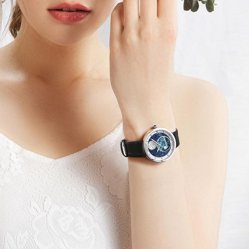 AGELOCER Moon Phase Women Watch Moonphase Design Ladies Quartz Watches Luxury Brand Sapphire Crystal 316L Steel Women's Watch enlarge