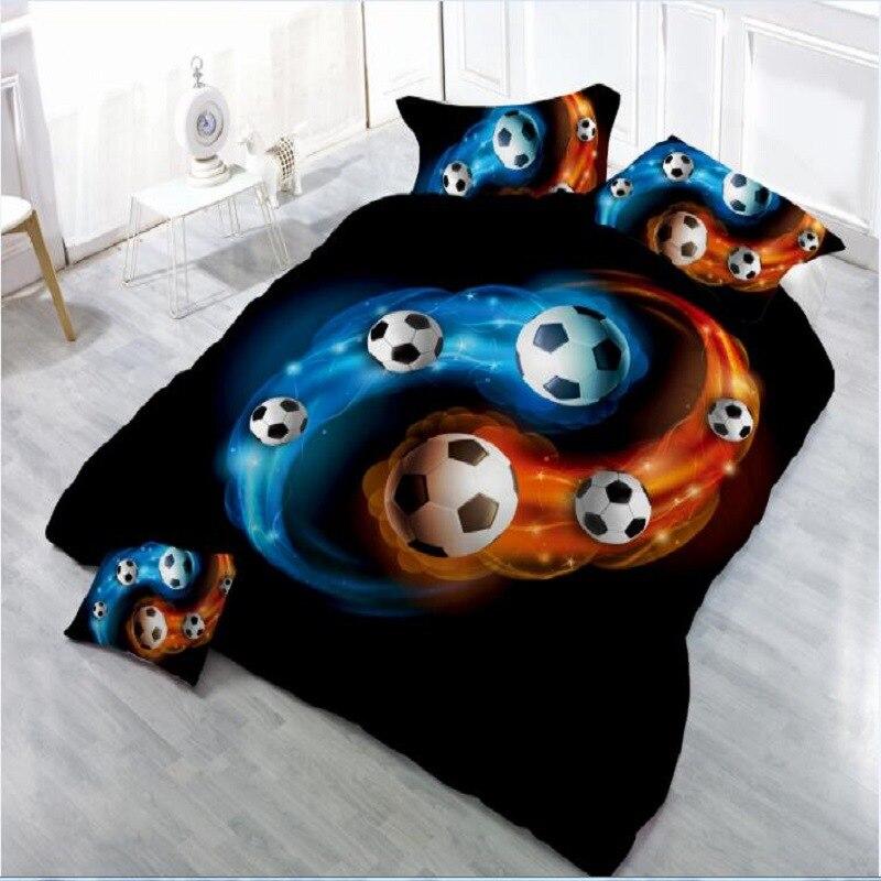 مفرش سرير مطبوع ثلاثي الأبعاد لكرة القدم ، طقم سرير ، 4 قطعة/المجموعة ، غطاء لحاف ، ملاءة سرير ، أكياس وسائد ، مقاس كوين