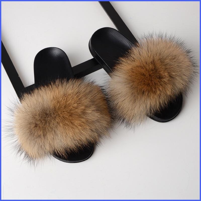 SARSALLYA Fur Slippers Women Real Fox Fur Slides Home Furry Flat Sandals Female Cute Fluffy House Sh