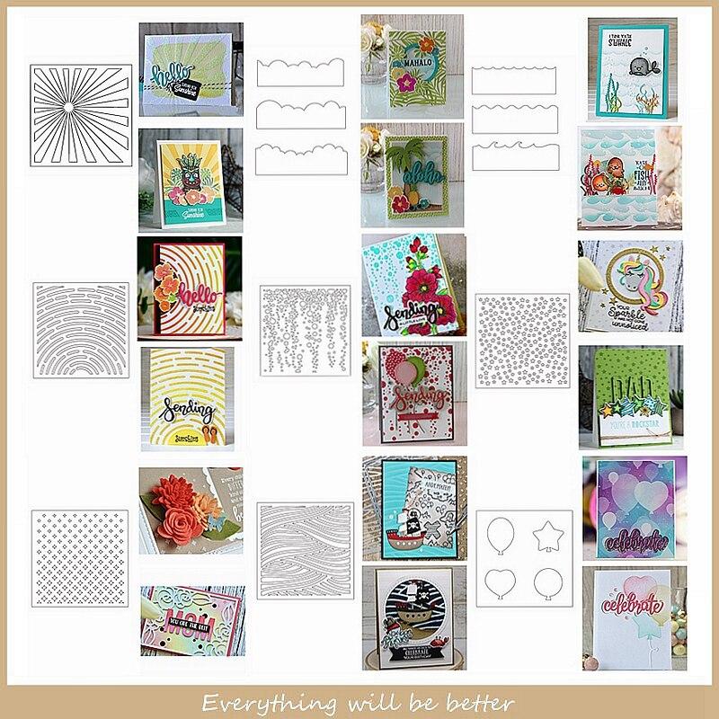 Plantilla de plástico globo de sol estrellas línea de fondo hoja de dibujo Diy álbum de recortes manualidades nuevas plantillas hacer tarjetas álbum fotos