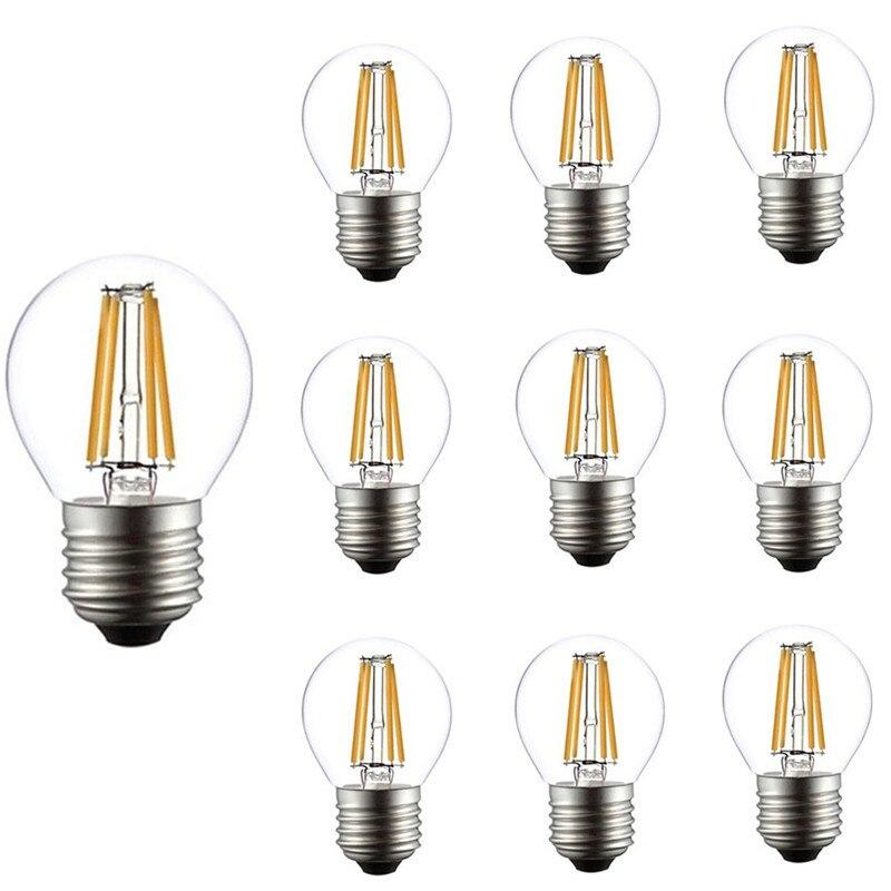 Винтажная лампа накаливания E27 4 Вт G45, 10 шт., 6 Вт, светодиодные светильник пы накаливания в стиле ретро, стеклянная лампа Эдисона 220 В, сменная ...