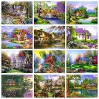 5d diy round diamond painting house scenery full square diamond embroidery cross stitch mosaic full layout crafts home decor