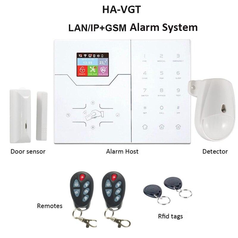 Focus HA-VGT LAN RJ45 IP Alarm System Home Intruder Security Color Screen APP Control French Menu House Alarms