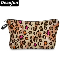 deanfun yellow leopard 3d printing small cosmetic bag stylish soft adorable washable storage bag makeup travel bag 51658