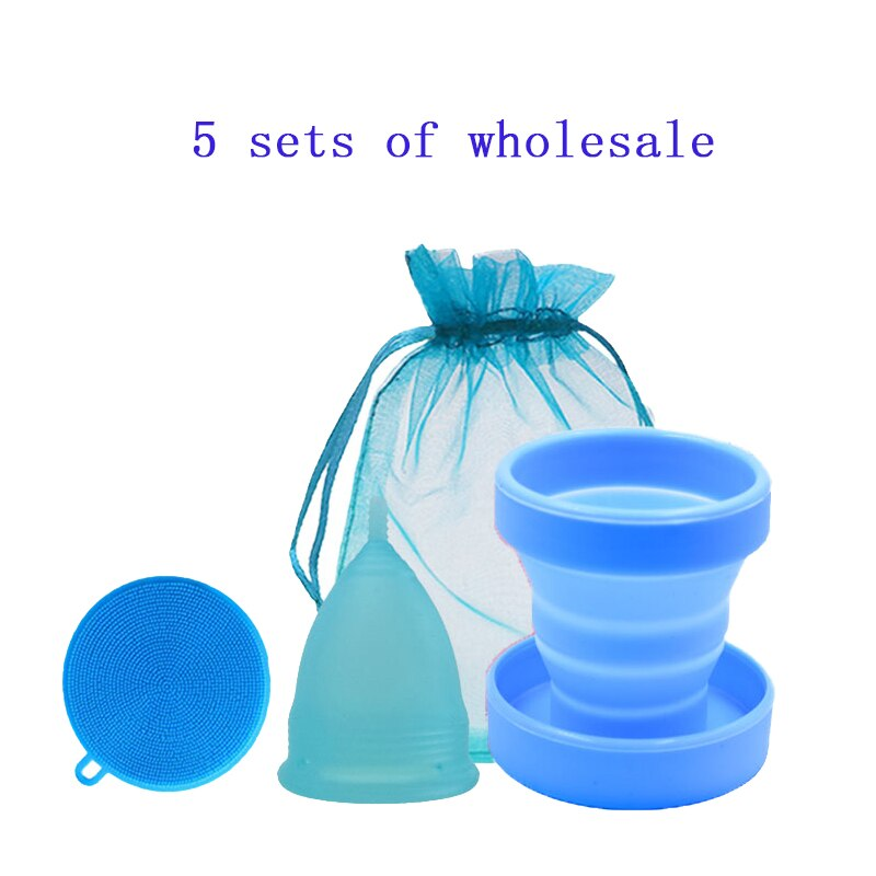 5 Medical grade silicone women's menstrual cup disinfection folding cup household cleaning brush & menstrual cup wholesale set