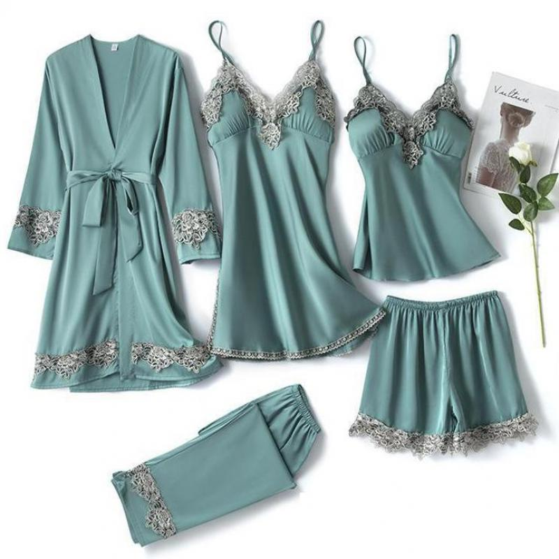 Satin Sexy Bride Bridesmaid Wedding Robe Set 5PCS Sleep Suit Nightwear Intimate Lingerie Lace Summer New Homewear Sleepwear