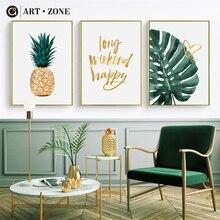 Affiche de toile en or ananas   Toile nordique, peinture feuilles vertes, affiche imprimée par ART, décoration murale, affiche de décoration pour la maison