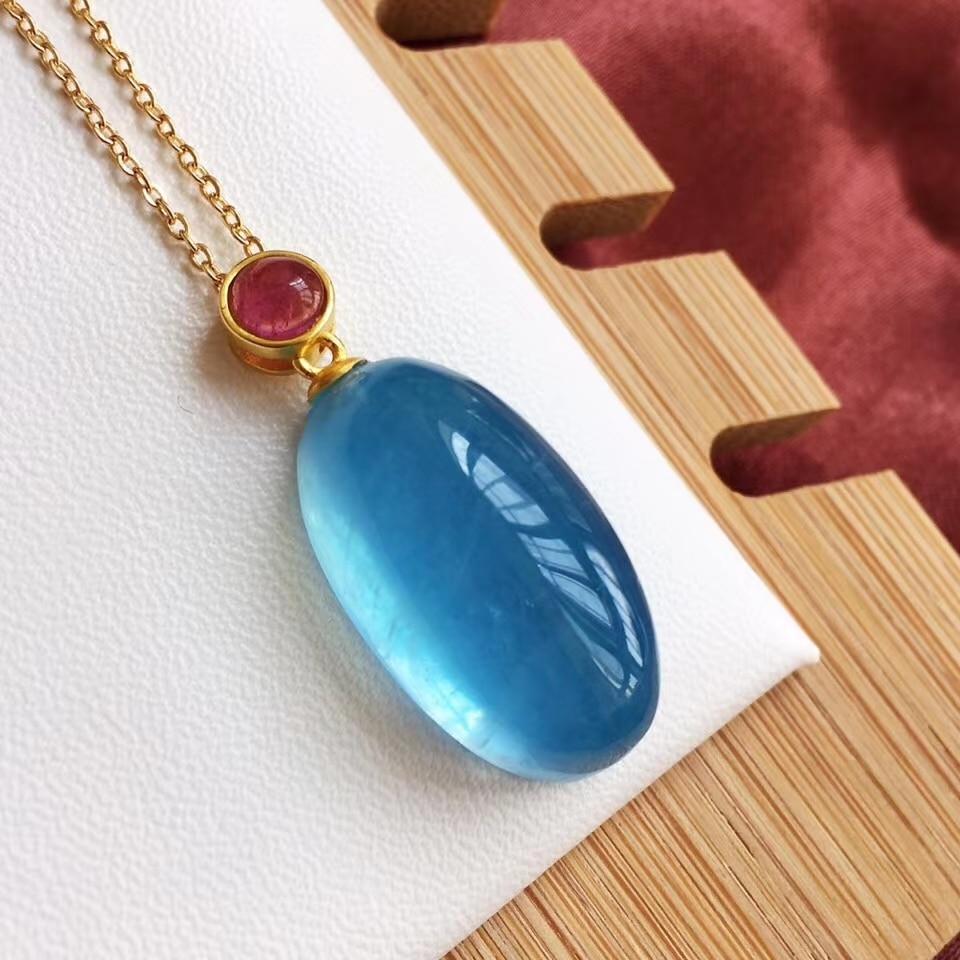 قلادة بيضاوية من الزبرجد الأزرق الجليدي الطبيعي للنساء والرجال ، عقد من الذهب عيار 18 قيراط AAAAA مرصع بأحجار شفافة مقاس 23 × 12.5 مللي متر