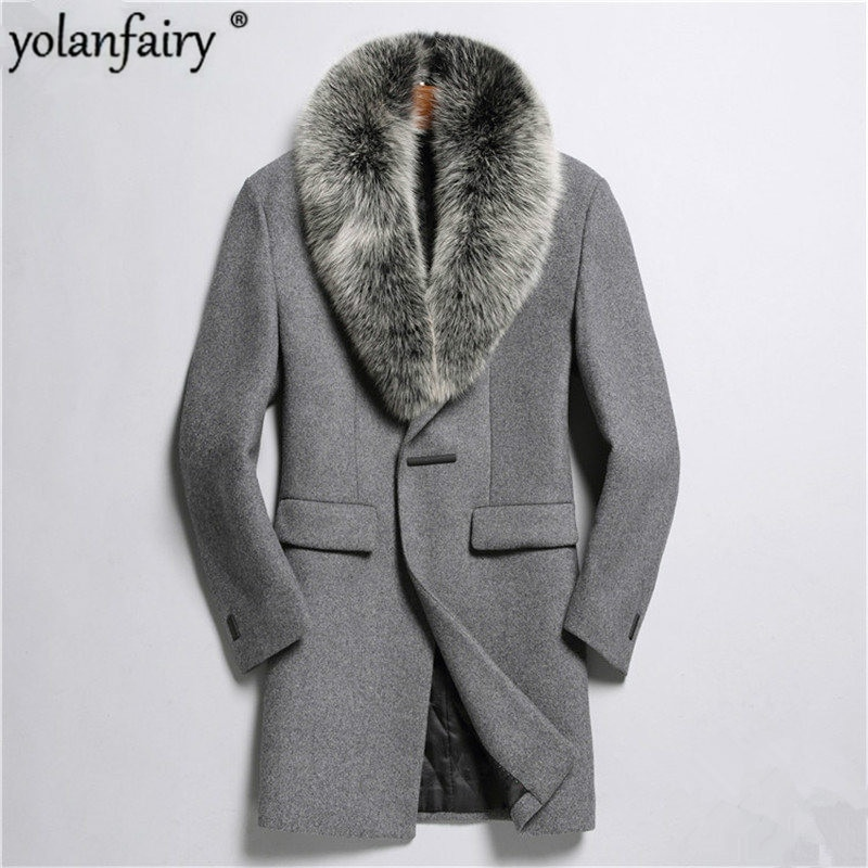 YOLANFAIRY-Chaqueta De Lana para Hombre, Abrigo masculino De Lana De alta calidad,...