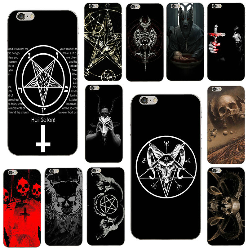 Soft TPU Silicone Phone Cases Cover for iPhone X XR XS 11 Pro Max 4 4S 5 5S 5C SE 6 6S 7 8 Plus Satan Pentagram Occult Evil