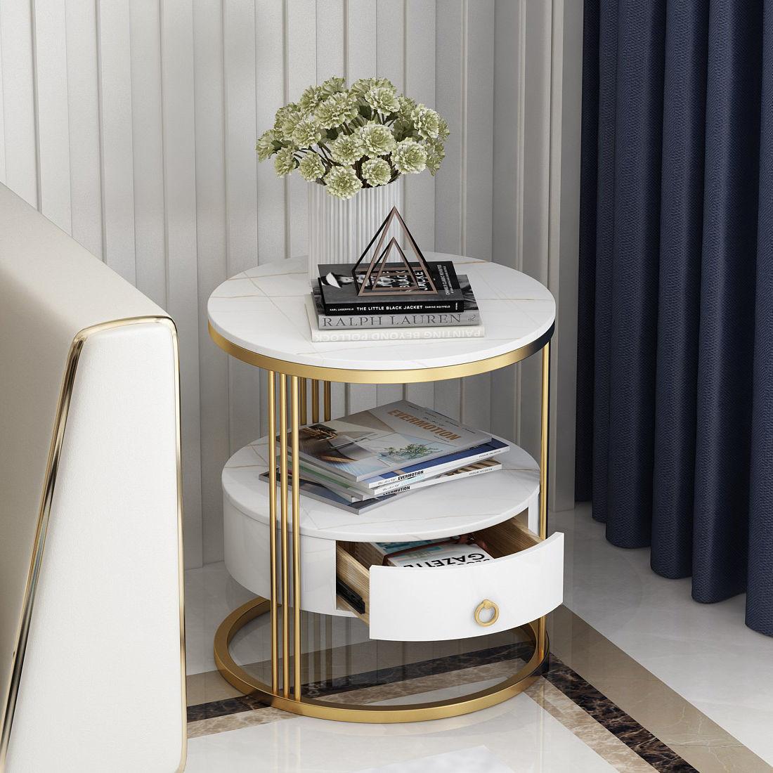 أريكة رخامية طاولة جانبية طبقتين مع درج خشب متين تخزين منضدة مستديرة طاولة قهوة لغرفة المعيشة أثاث منزلي