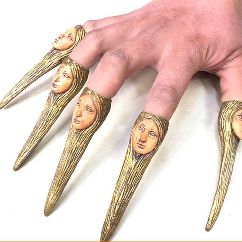 10 Uds garras de miedo uñas calavera León araña falsa cubierta de uñas Halloween zombi bruja Cosplay Accesorios