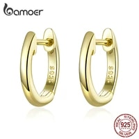 bamoer tiny hoop earrings for women gold color 925 sterling silver small ear hoops female jewelry fashion bijoux brincos sce808