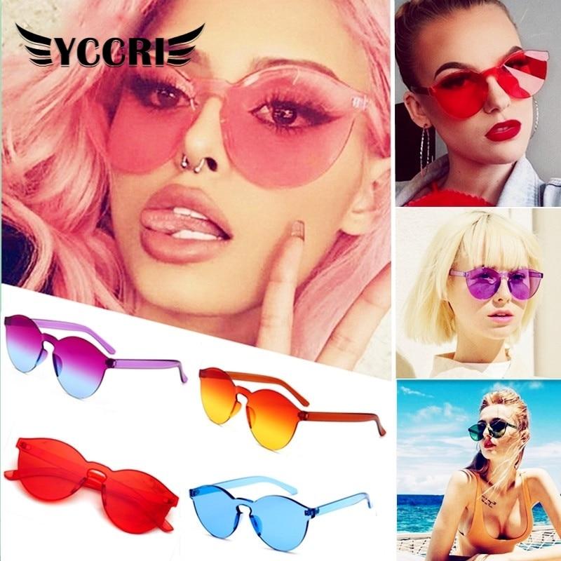 Женские солнцезащитные очки без оправы, очки конфетных цветов в стиле ретро, праздничные круглые очки, готические солнцезащитные очки UV400, ...