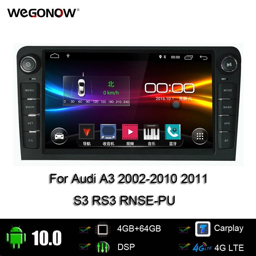 "DSP IPS 8 ""Android 10,0 8Core 4GB 64GB reproductor de DVD del coche GPS mapa WIFI Bluetooth Radio para Audi A3 2002-2010 de 2011 S3 RS3 RNSE-PU"