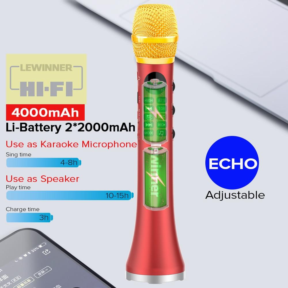 Lewinner L-699 Wireless Microphone 20W Bluetooth Handheld Portable For Music Professional Speaker Player Singing Recorder Mic enlarge
